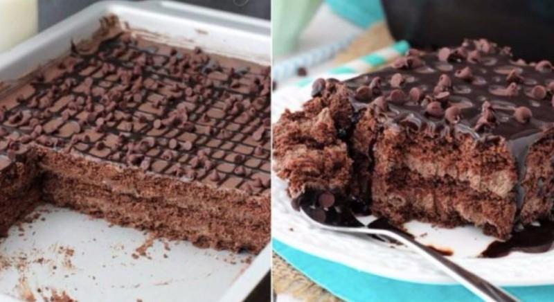 Jemné nepečené řezy se třemi druhy krémů a čokoládovou polevou recept