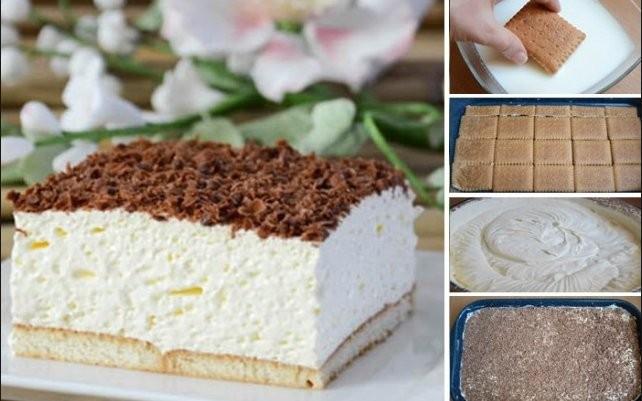 Pěnový dort z Bebe sušenek a čokoládou Recept