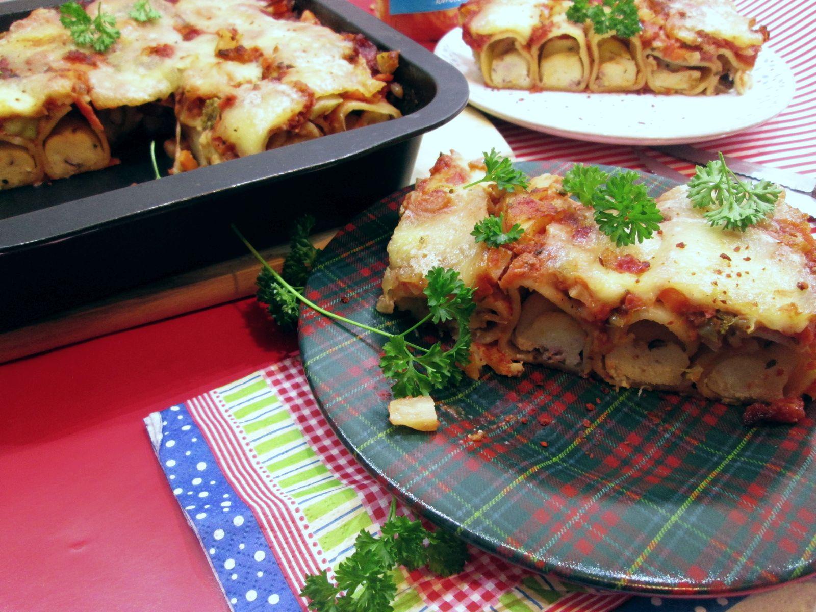 Cannelloni plnené bazalkovou ricottou, zapečené v omáčke