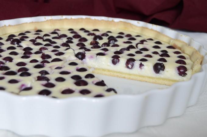 Nejjednodušší tvarohový koláč s borůvkami