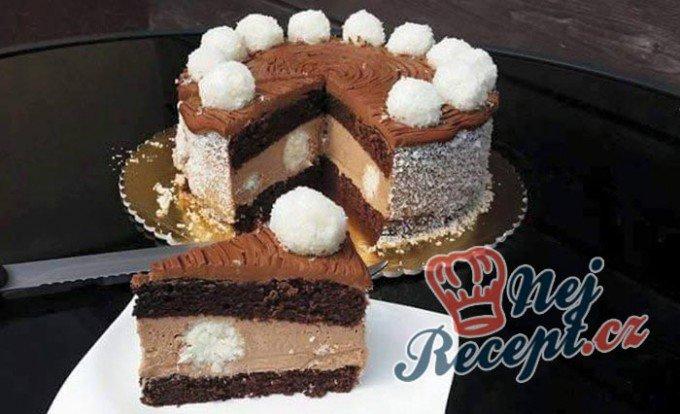 Nugátový dort s kokosovými kuličkami