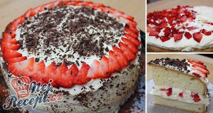 Neodolatelný dortík s vanilkovým krémem a jahodami