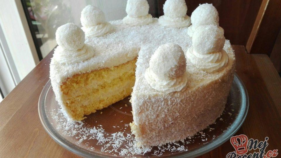 Kokosový dort s Rafaello kuličkami – FOTOPOSTUP
