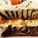 Mramorový dort s broskvemi